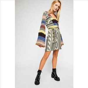 FREE PEOPLE PATCHWORK SWEATER MINI DRESS